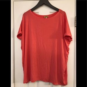Piko rolled sleeve dark peach